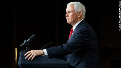 Vice President Mike Pence speaks during a visit to Rock Springs Church to campaign for GOP Senate candidates  on January 4, 2021 in Milner, Georgia.