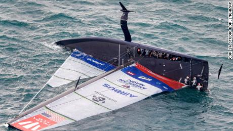 American Magic capsizes during its race against Italy's Luna Rossa on the third day of racing of the America's Cup challenger series on Auckland's Waitemate Harbour, New Zealand.