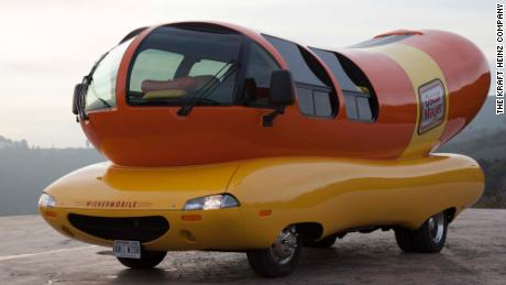 The iconic Wienermobile is seen in all its glory.