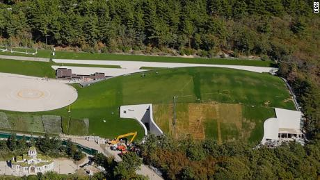 According to the drone video shot by FBK, the estate has a private hockey rink, church, amphitheater and a 2,500-square-meter greenhouse.
