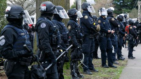 Police drew a line in Portland, Oregon during protests on Wednesday.