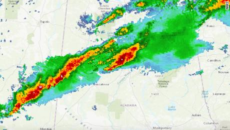 A line of storms brings severe weather from Alabama to Georgia.
