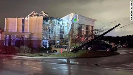 A Hampton Inn hotel is severely damaged after a tornado tore through Fultondale, Alabama.
