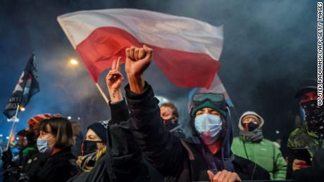 As a demonstrative gesture people take part in a protest against a pro-choice center in the center of Warsaw on 27 January, there is an almost complete ban on abortion as part of a nationwide wave against Poland.