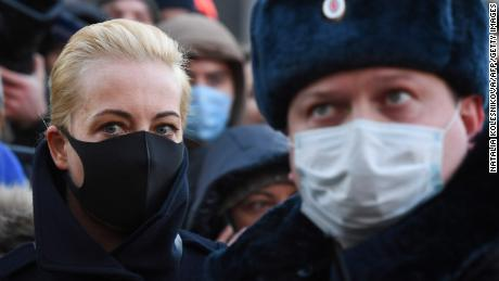 Navalny's wife, Yulia Navalnaya, arrives in court on Tuesday.