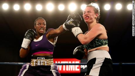Clarissa Shields makes a punch in 2017 on Szilavia Szabados of Hungary.