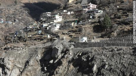 General view of Raini village in the aftermath of the avalanche and flood in Chamoli districton on February 10, 2021.