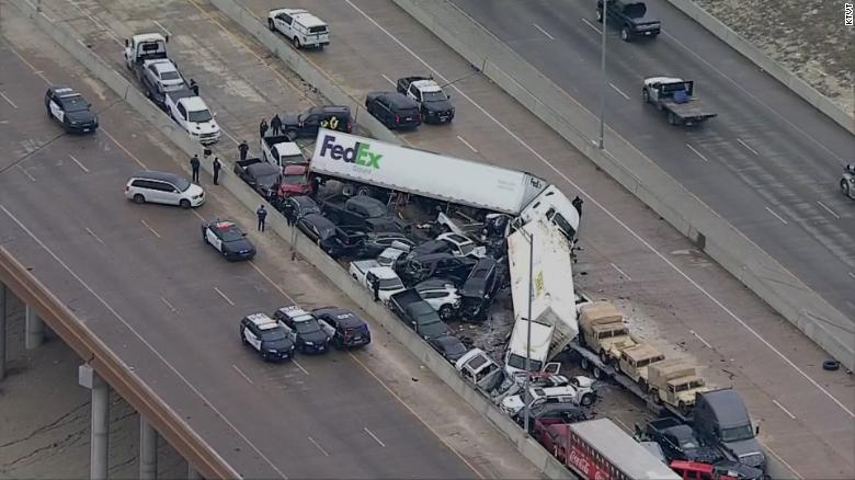Numerous vehicles were piled up on this section of the highway alone in Fort Worth.
