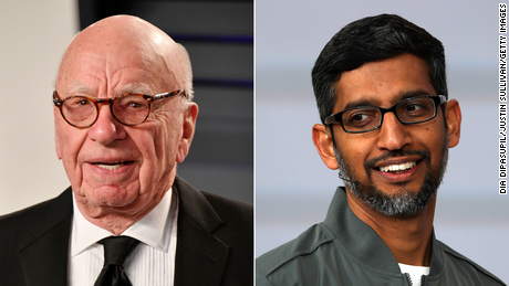 Rupert Murdoch (left) has long argued with tech leaders such as Google CEO Sundar Pichai (right) that platforms should pay for news content.