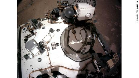 The navigation camera on the rover captured this view of the rover's deck on 20 February.