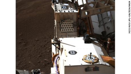 Mastcam-Z, a pair of zoomable cameras aboard the rover, captured this image looking at its calibration target.