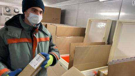 Sputnik V boxes are stored cold before shipment.