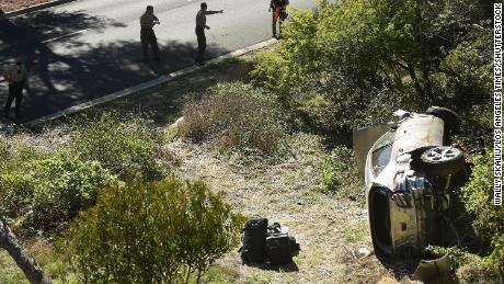 Investigators examine the scene of the accident on Hawthorne Boulevard in Rancho Palos Verdes, California.