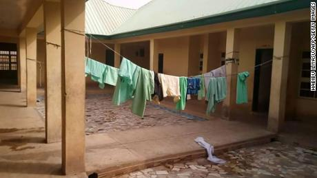 School uniforms still hung inside the deserted school dormitory following the attack