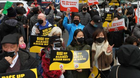The rally was held to protest the increase in violence against Asian Americans.