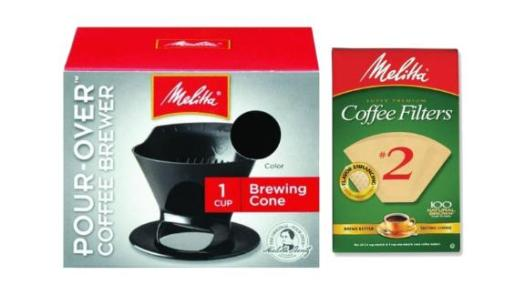 Melitta Pour-Over Coffee Cone Brewer and No. 2 Filter Set