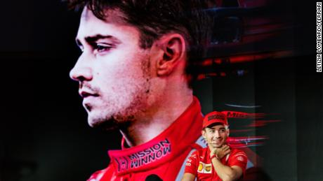 Leclerc during the season-opening press conference.