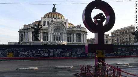 Fences protect the Bellas Artes museum ahead of a demonstration as part of the International Women's Day on March 8, 2021 in Mexico City, Mexico