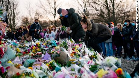 Floral tributes were laid at the Saturday vigil for Sarah Everard in London.