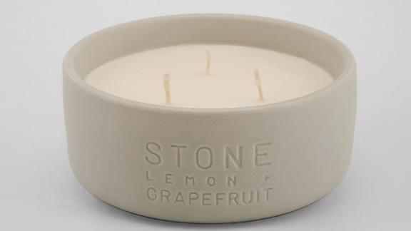 Project 62 Debossed Ceramic Jar 3-Wick Candle Stone Lemon & Grapefruit
