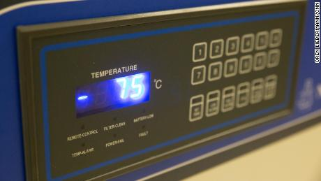 The Vaccine Freezer at the Naval Medical Center Portsmouth maintains the Pfizer vaccine at -75 degrees.