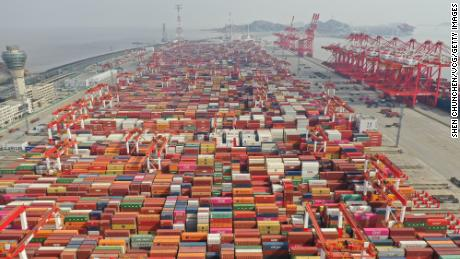 An aerial view on February 22 of Yangshan Port south of Shanghai, one of the world's busiest container shipping ports.