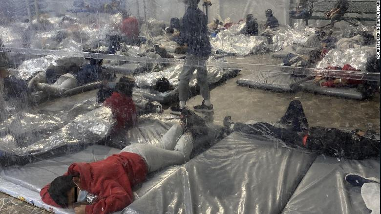Photos released by Democratic Rep. Henry Cuellar's office show conditions inside a US Customs and Border Protection facility in Donna, Texas, over the weekend. Cuellar's office obscured portions of the image to protect the identities of minors.