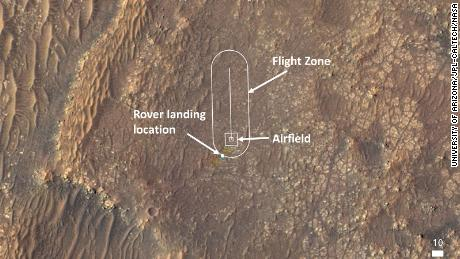 This image shows where Ingenuity will attempt its test flights.