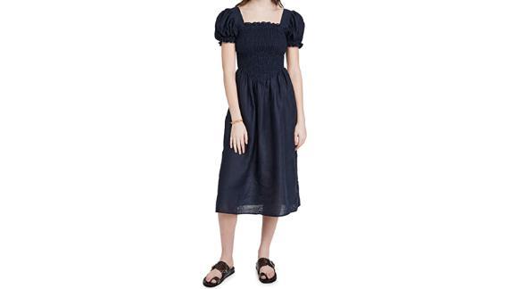 Sleeper Belle Linen Dress In Navy