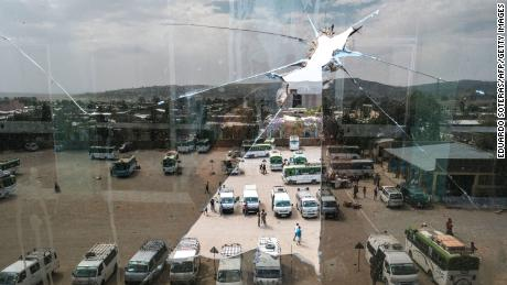 View of the Wukro bus station, Tigray, on March 1, 2021.