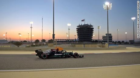 Hamilton drives during the third day of the F1 pre-season testing at the Bahrain International Circuit.