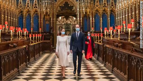 William and Catherine at Westminster Abbey on Tuesday.