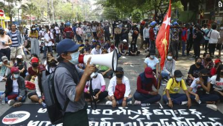 The protesters took over a road during a rally against the military coup on Saturday in Taramway Township in Yangon, Myanmar.