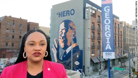 Williams is seen in a screen grab from the 2020 Democratic National Convention video stream. She won the congressional seat of the late Rep. John Lewis last fall.