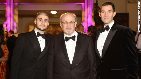 Salman Rushdie with his sons Milan Rushdie (left) and Zafar Rushdie (right).
