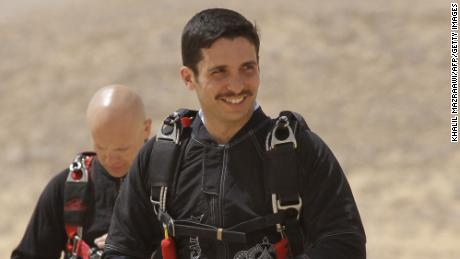 """Prince Hamzah attends a media event to announce the launch of """"Skydive Jordan"""" in the Wadi Rum desert on April 19, 2011."""