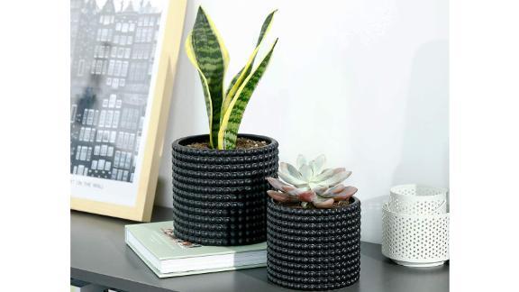Potey Black Ceramic Hobnail Patterned Planter Pots
