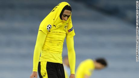 Jude Bellingham reacts after Dortmund's defeat by Man City.