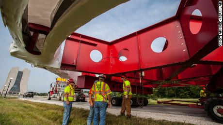 The muon g-2 equipment being transported to Fermilab.