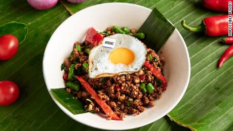 """Impossible Foods' meatless """"beef"""" served as a krapow dish with fried egg at Cafe Siam, a restaurant in Hong Kong."""
