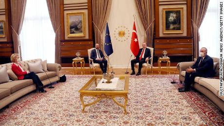 The European Union's two presidents met Erdogan in Ankara, Turkey, on April 6.