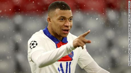 Kylian Mbappe celebrates his first goal of the night.