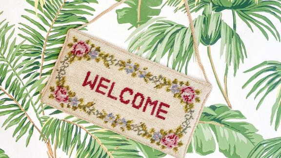 INeedABiggerHouse Welcome Vintage Needlepoint Door Hanger Sign
