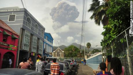 Ash and smoke billow as the La Soufrière volcano erupts on the eastern Caribbean island of St. Vincent on April 9.