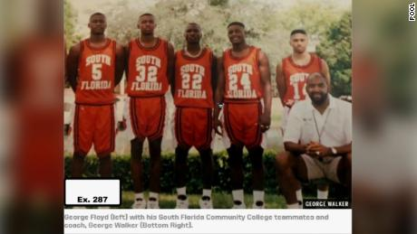 A photo of Floyd and his college basketball team entered into evidence