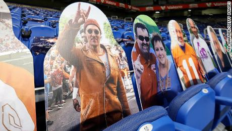 A cardboard cutout of actor Matthew McConaughey is seen in the seats during the Valero Alamo Bowl between the Colorado Buffaloes and the Texas Longhorns at the Alamodome on December 29, 2020 in San Antonio, Texas.