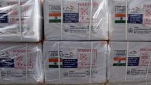 Boxes of AstraZeneca vaccine, produced by the Serum Institute of India and donated by the Indian government, arrive in Kabul, Afghanistan, on February 7, 2021.