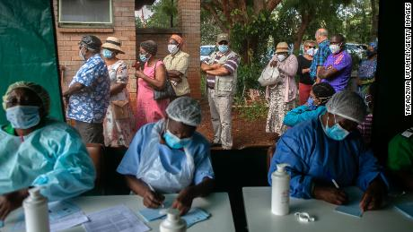 Elderly people queue for the Sinopharm Covid-19 vaccine on March 29, 2021 in Harare, Zimbabwe.