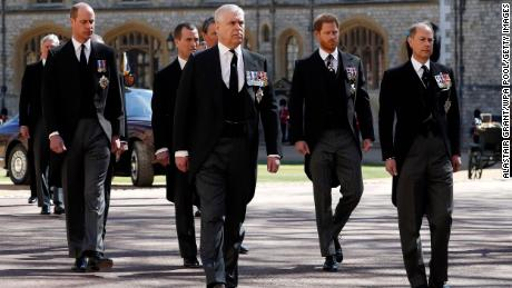Prince William, Prince Andrew, Prince Harry and Prince Edward walk together before the funeral of Prince Philip.