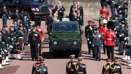 During the procession, Philip's coffin was carried by a modified Land Rover that he helped design.